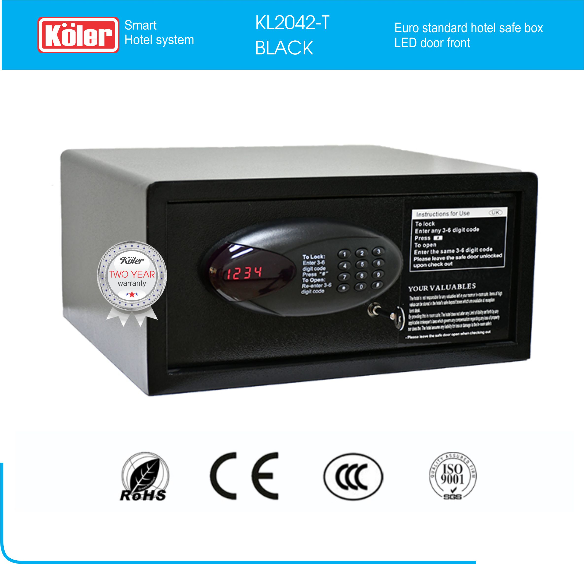 Safe box KL2042-T Black
